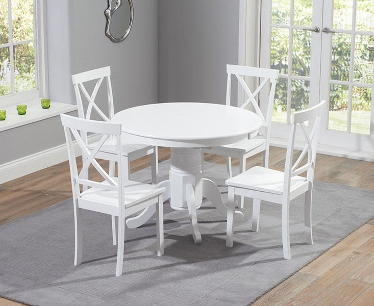 Mark Harris Elstree 100cm White Extending Oval Dining Set with 4 Chairs