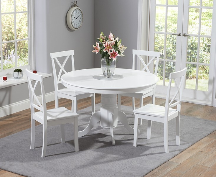 Mark Harris Elstree 120cm White Round Dining Set with 4 Chairs
