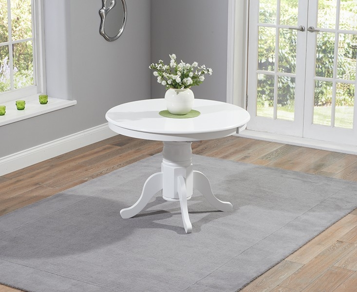 Mark Harris Elstree White Dining Table - 100cm Round Extending