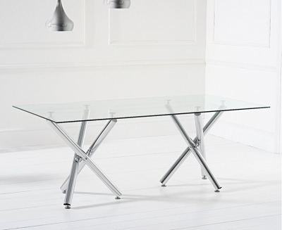 Mark Harris Eva Dining Table - Glass and Chrome