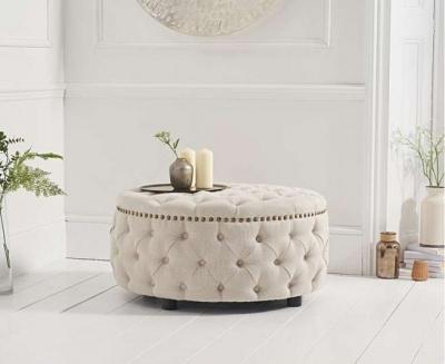 Mark Harris Fiona Cream Linen Round Footstool