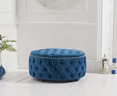 Mark Harris Fiona Blue Velvet Round Footstool