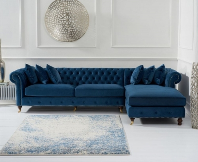 Mark Harris Fiona Chesterfield Blue Velvet Right Facing Corner Chaise Sofa