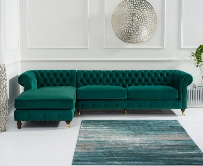 Mark Harris Fiona Chesterfield Green Velvet Left Facing Corner Chaise Sofa