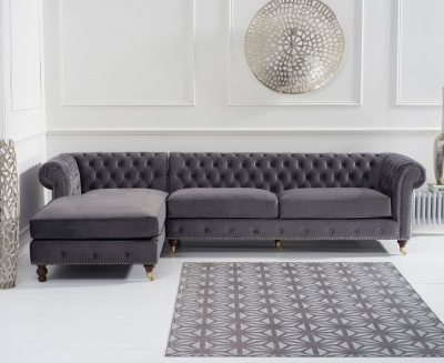 Mark Harris Fiona Chesterfield Grey Velvet Left Facing Corner Chaise Sofa
