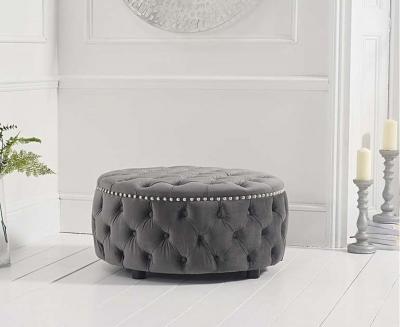 Mark Harris Fiona Grey Velvet Round Footstool