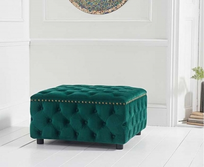 Mark Harris Fiona Green Velvet Square Footstool