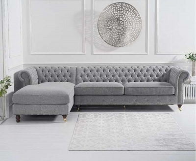 Mark Harris Fiona Grey Linen Fabric Left Facing Corner Chaise Sofa