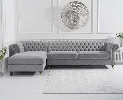Mark Harris Fiona Grey Linen Fabric Left Facing Corner Chaise Sofa