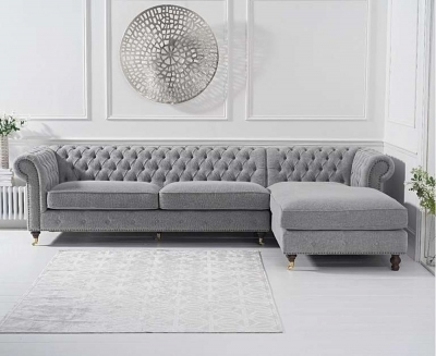 Mark Harris Fiona Grey Linen Fabric Right Facing Corner Chaise Sofa