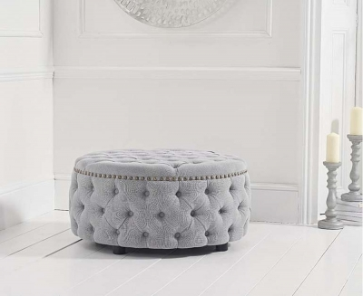 Mark Harris Fiona Grey Linen Fabric Round Footstool