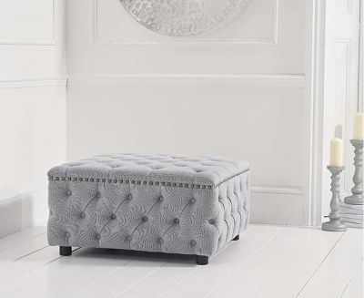 Mark Harris Fiona Grey Linen Fabric Square Footstool