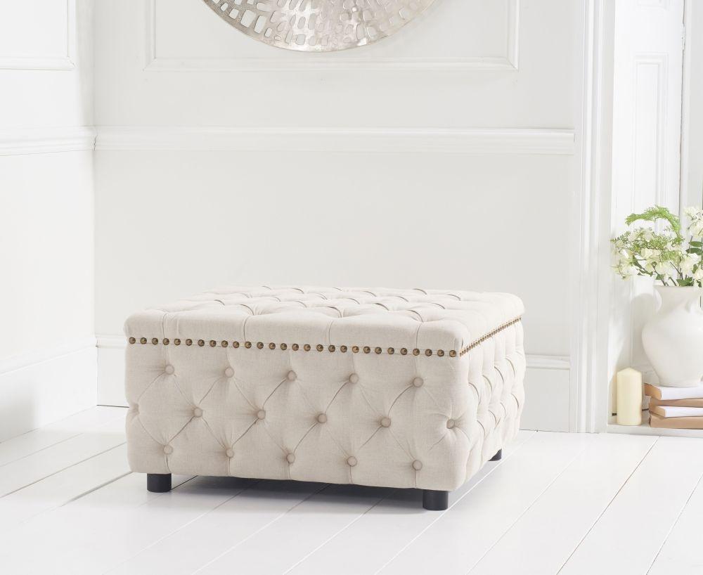 Mark Harris Fiona Cream Linen Fabric Square Footstool