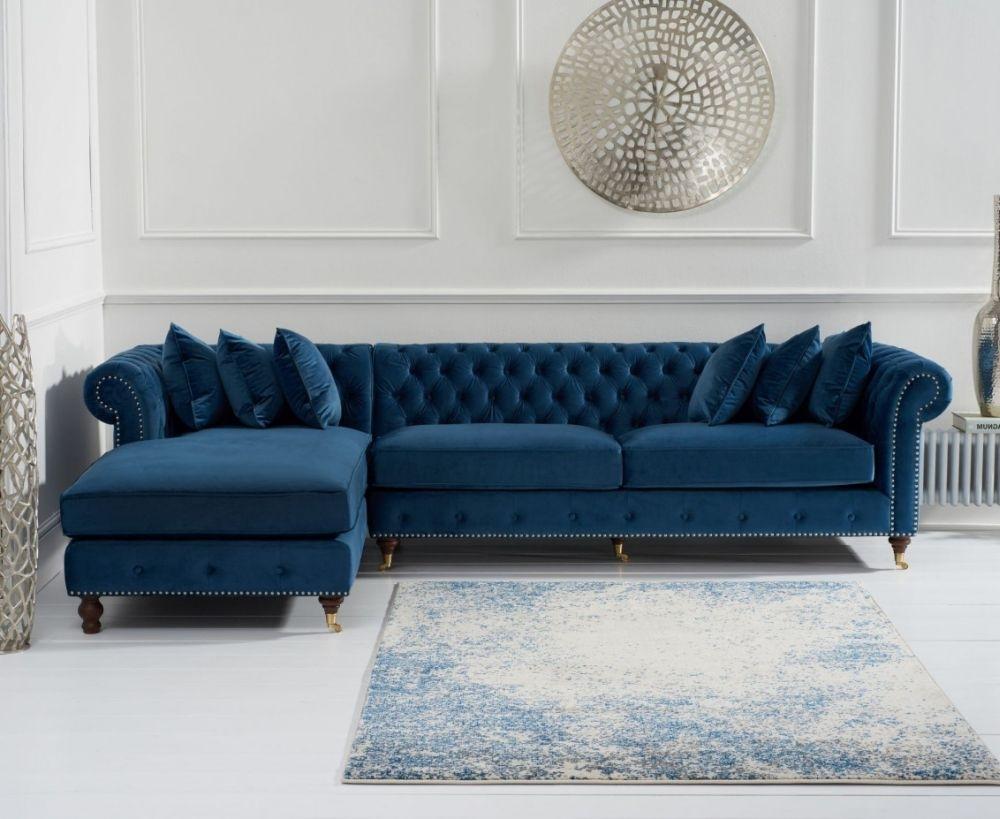 Mark Harris Fiona Chesterfield Blue Velvet Left Facing Corner Chaise Sofa