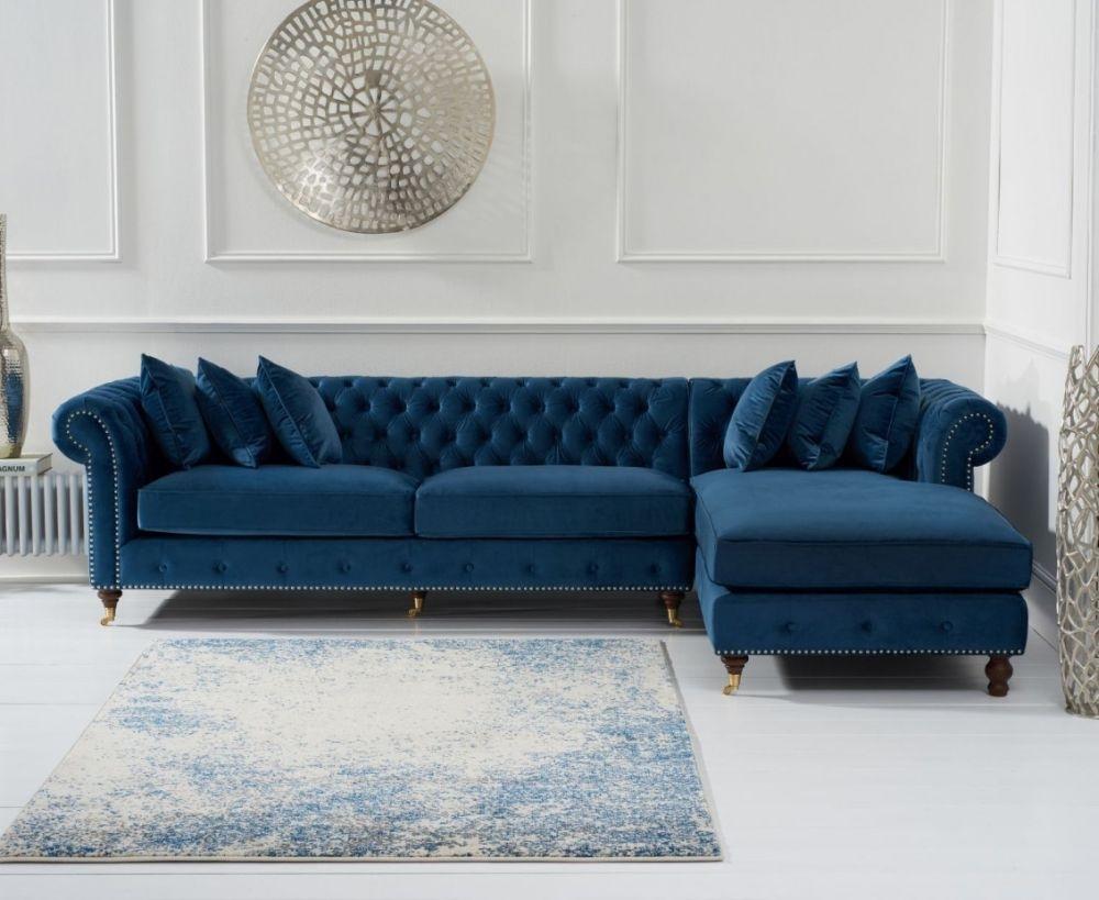 Mark Harris Fiona Chesterfield Blue Velvet Right Facing Corner Chaise Sofa