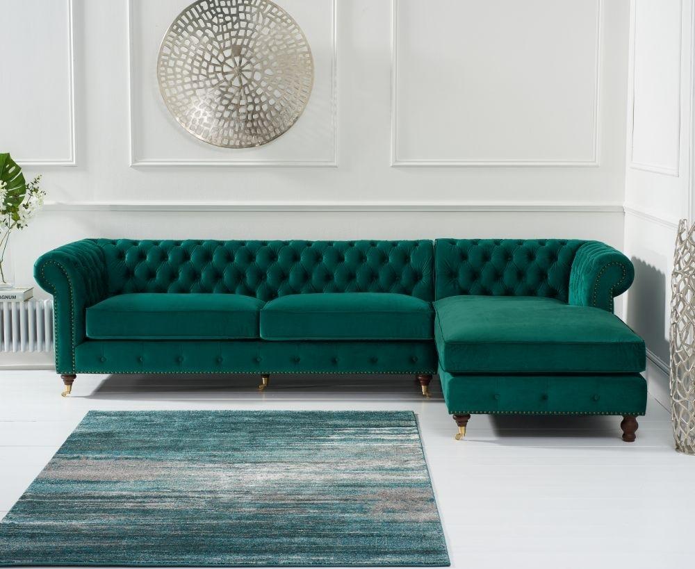Mark Harris Fiona Chesterfield Green Velvet Right Facing Corner Chaise Sofa