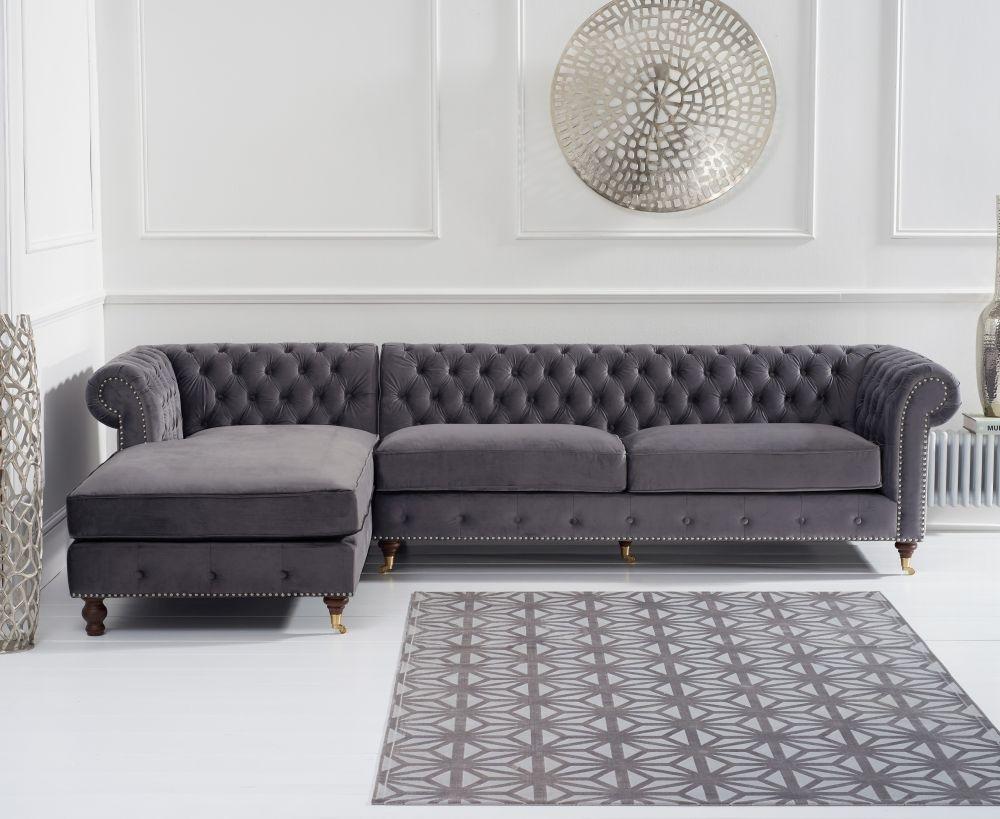 Mark Harris Fiona Chesterfield Grey Velvet Left Facing Corner Chaise Sofa