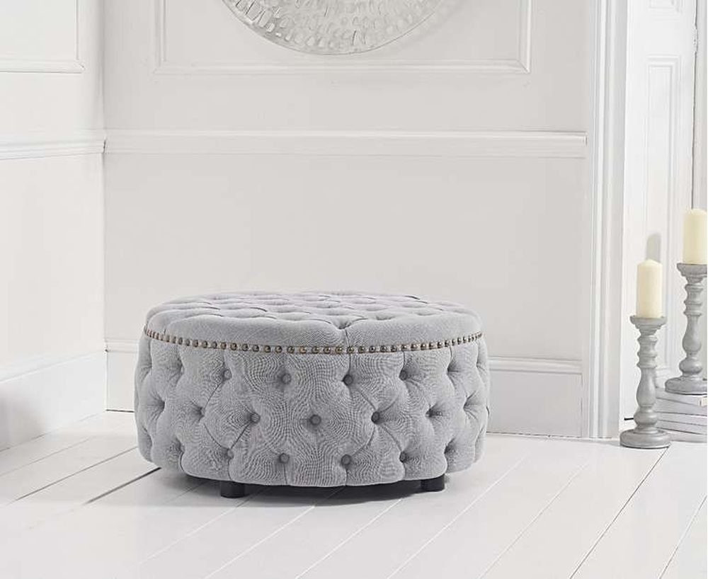 Mark Harris Fiona Grey Linen Fabric Round Footstool