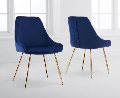 Mark Harris Florida Blue Velvet Dining Chair (Pair)