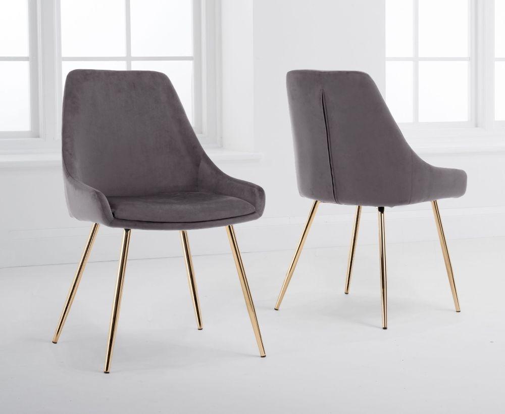 Mark Harris Florida Grey Velvet Dining Chair (Pair)