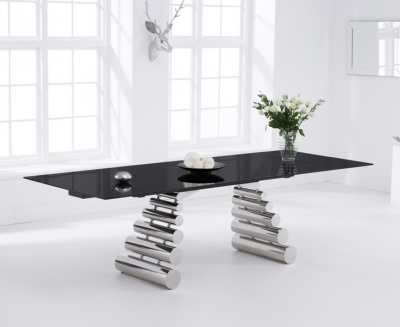 Mark Harris Formos 180cm Black Glass Extending Dining Table