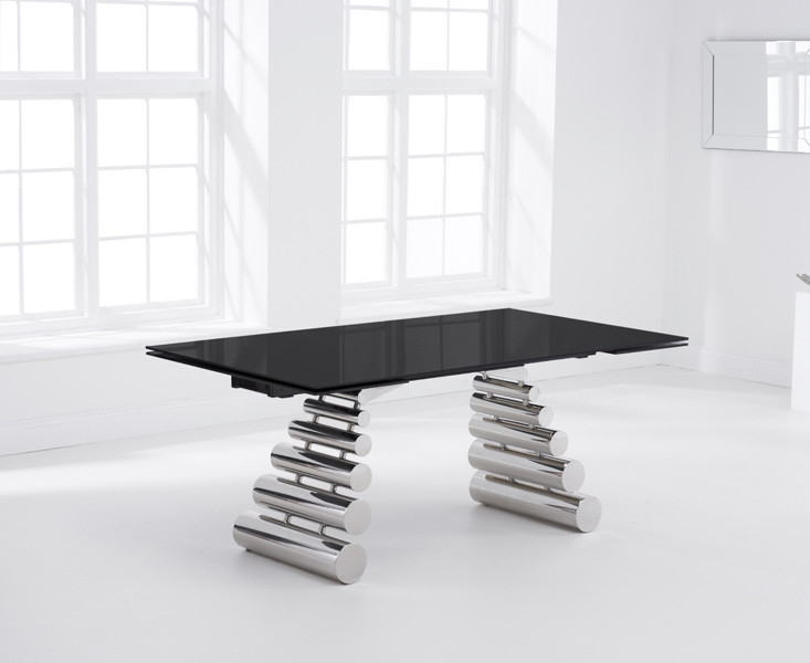 Mark Harris Formos Black Glass Dining Table - 180cm Extending