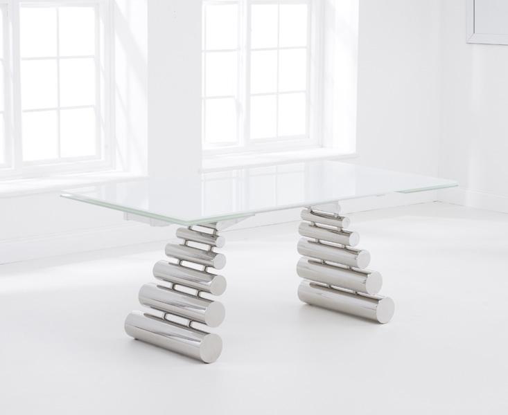 Mark Harris Formos White Glass Dining Table - 180cm Rectangular Extending