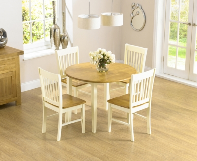 Mark Harris Genovia Drop Leaf Extending Dining Table and 4 Chairs - Oak and Cream