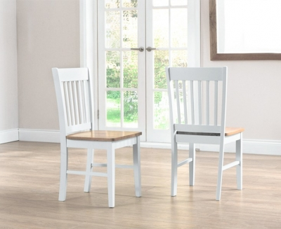 Mark Harris Genovia Dining Chair (Pair) - Oak and White