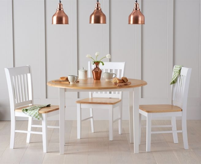 Mark Harris Genovia Oak and White Drop Leaf Extending Dining Table and 4 Chairs