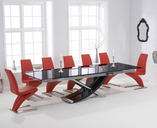 Mark Harris Hanover 210cm Black Glass Extending Dining Table with 6 Hereford Z Red Chairs