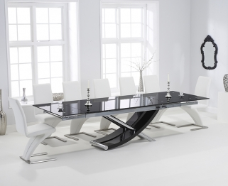 Mark Harris Hanover 210cm Black Glass Extending Dining Set with 6 Hereford Z White Dining Chairs