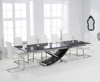 Mark Harris Hanover 210cm Black Glass Extending Dining Set with 6 Malibu White Dining Chairs