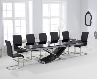 Mark Harris Hanover Glass Extending Dining Table and 8 Malibu Chairs - Chrome and Black