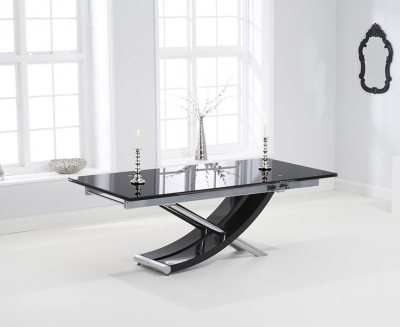 Mark Harris Hanover Extending Dining Table - Black Glass and Chrome