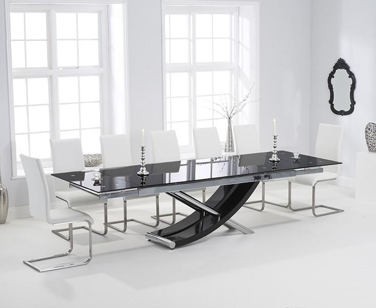 Mark Harris Hanover Black Glass Dining Set   210cm Rectangular Extending  With 8 Malibu Ivory White