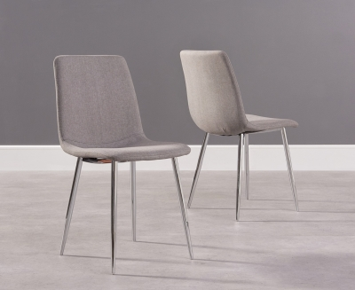 Mark Harris Hatfield Grey Fabric Dining Chair with Chrome Legs (Pair)