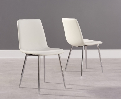 Mark Harris Hatfield White Faux Leather Dining Chair with Chrome Legs (Pair)
