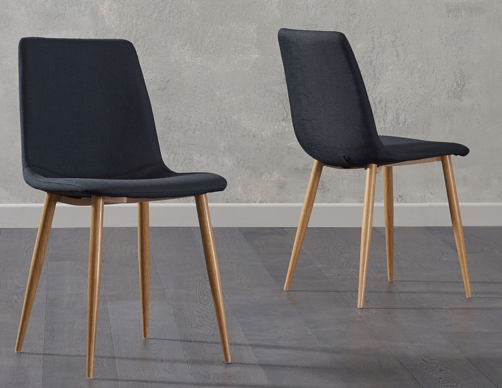 Mark Harris Hatfield Black Fabric Dining Chair with Wooden Legs (Pair)