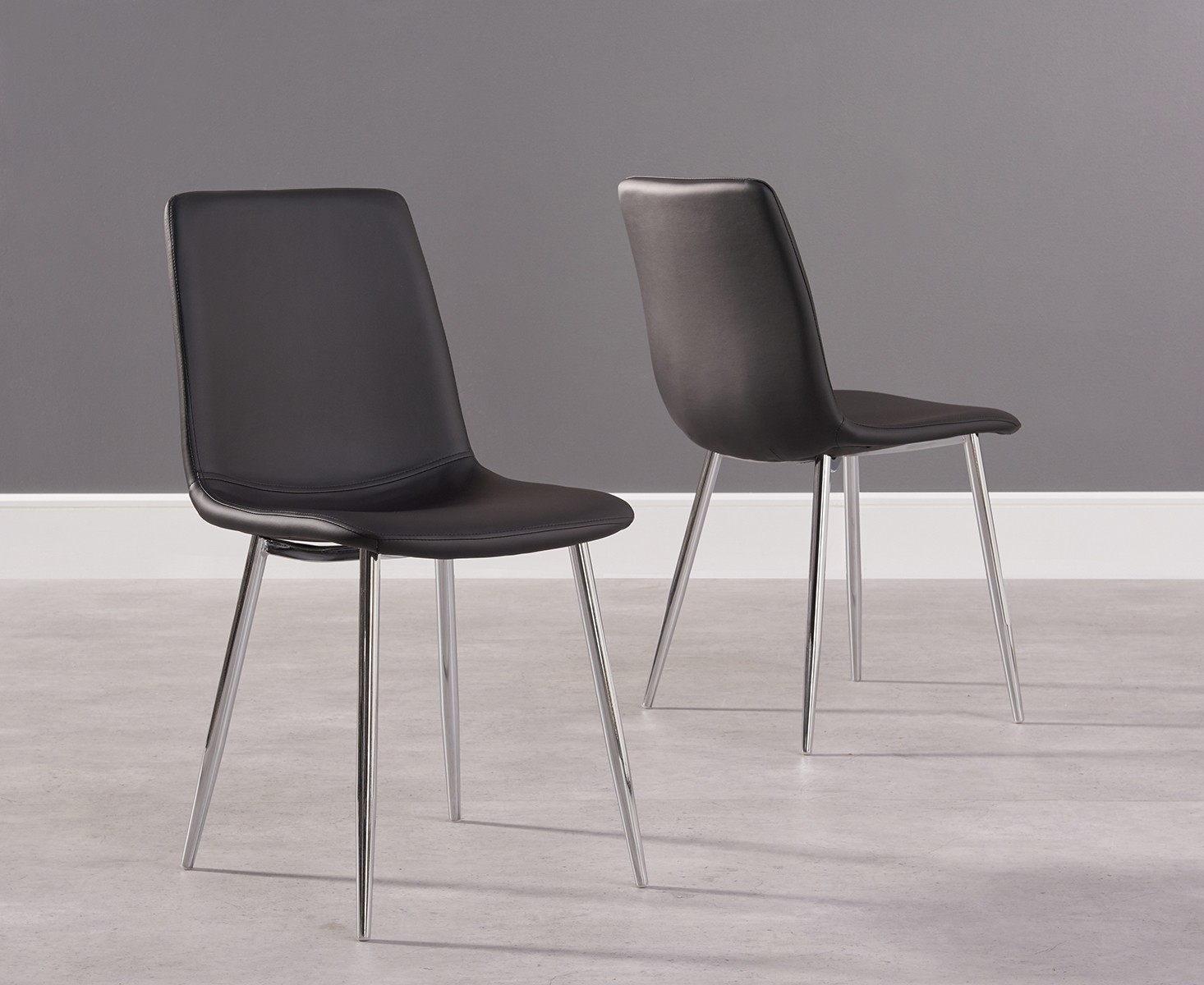 black and chrome furniture. Mark Harris Hatfield Black Faux Leather Dining Chair With Chrome Legs (Pair) And Furniture H