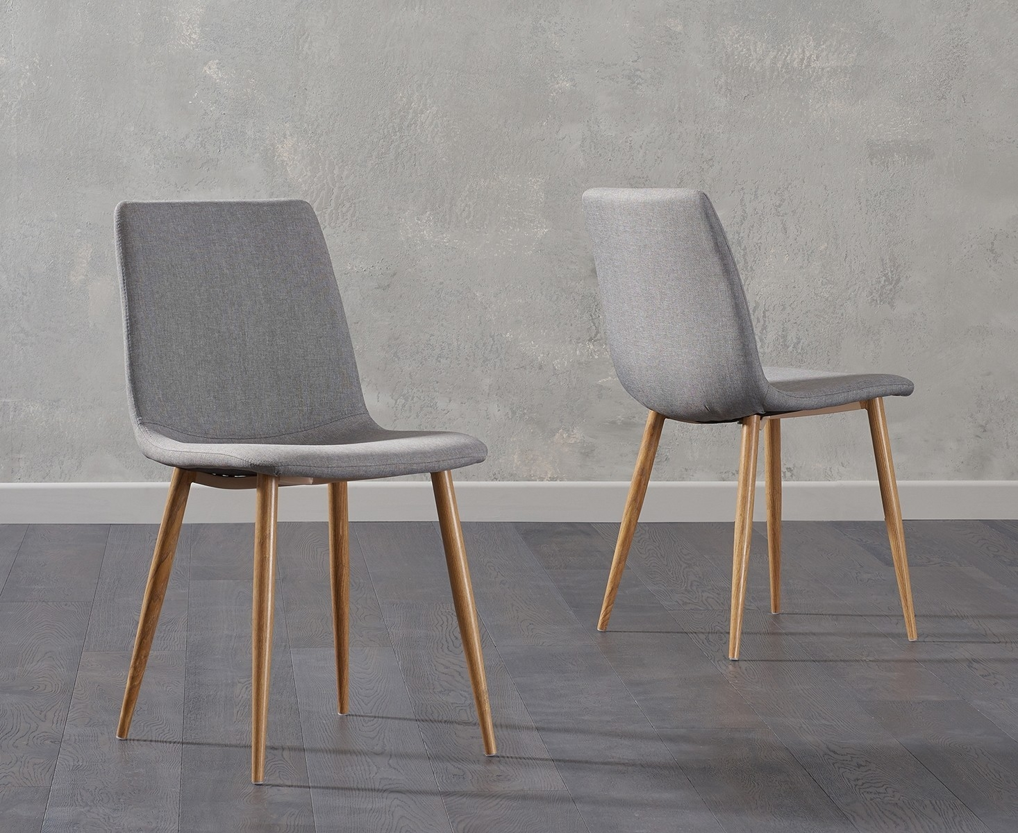 Mark Harris Hatfield Grey Fabric Dining Chair With Metal Legs Pair