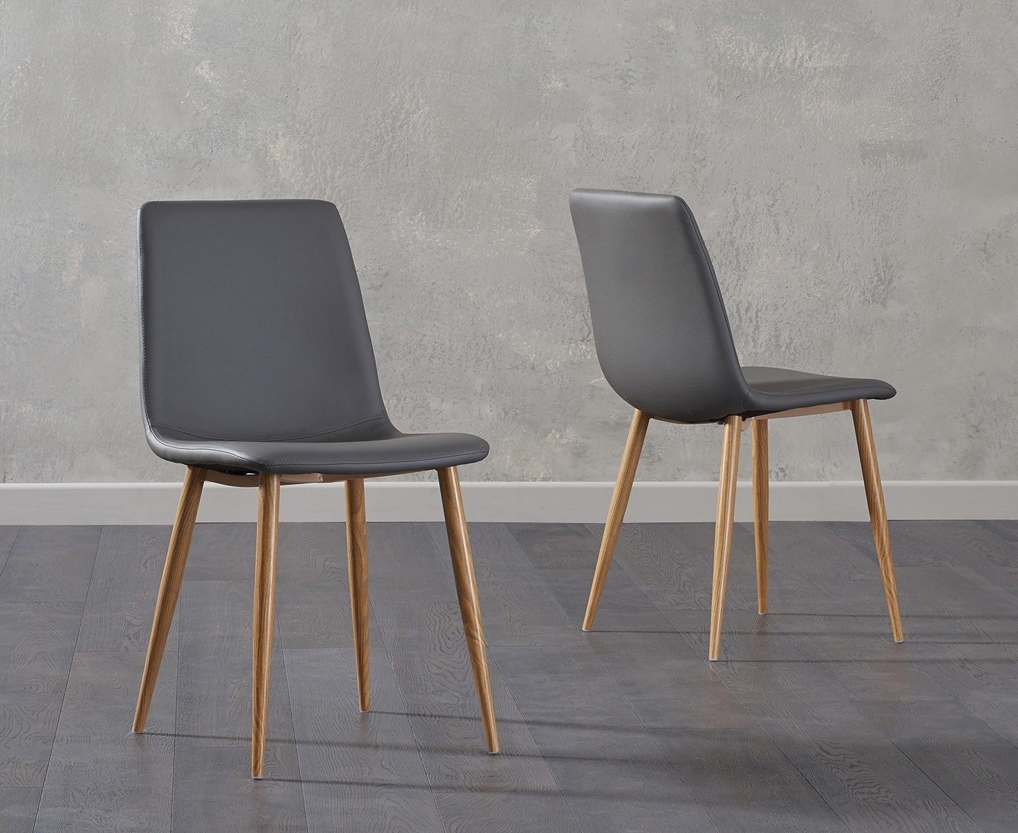 Mark Harris Hatfield Grey Faux Leather Dining Chair with Wooden Legs (Pair)