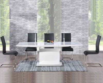 Mark Harris Hayden White High Gloss 160cm Extending Dining Set with 6 Black Malibu Dining Chairs