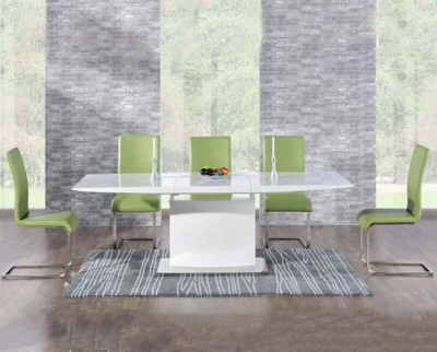 Mark Harris Hayden White High Gloss 160cm Extending Dining Table with 6 Green Malibu Chairs