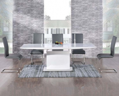Mark Harris Hayden White High Gloss 160cm Extending Dining Set with 6 Grey Malibu Dining Chairs