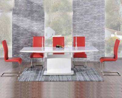 Mark Harris Hayden White High Gloss 160cm Extending Dining Set with 6 Red Malibu Dining Chairs