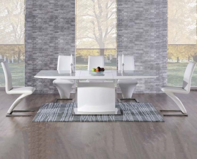 Mark Harris Hayden White High Gloss 160cm Extending Dining Table with 6 White Hereford Chairs