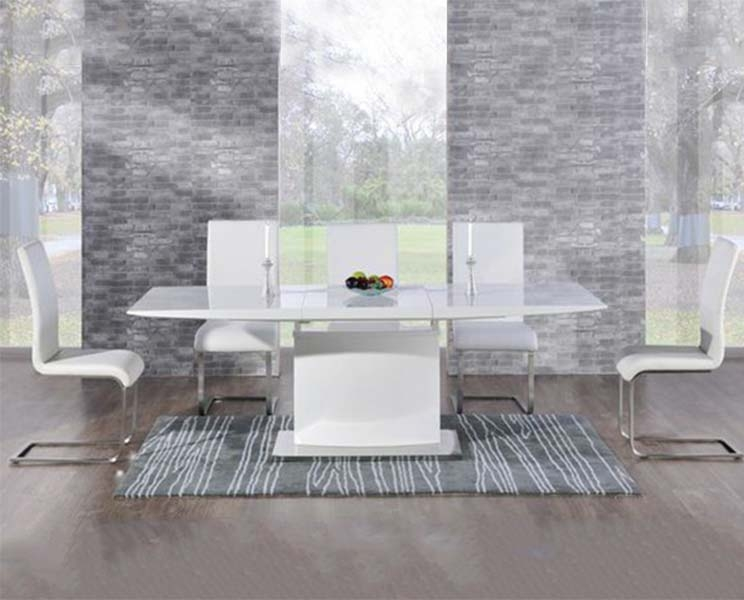 Mark Harris Hayden White High Gloss 160cm Extending Dining Table with 6 Ivory Malibu Chairs
