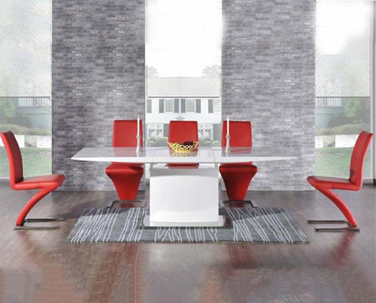 Mark Harris Hayden White High Gloss 160cm Extending Dining Set with 6 Red Hereford Dining Chairs