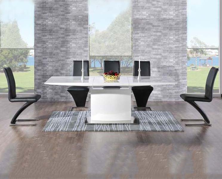 Mark Harris Hayden White High Gloss Dining Set - 160cm Rectangular Extending with 6 Black Hereford Chairs